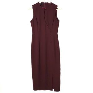 Tahari plum colored midi sheath dress